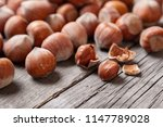 heap hazel and two nuts with ... | Shutterstock . vector #1147789028