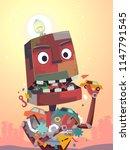 illustration of a robot mascot... | Shutterstock .eps vector #1147791545