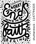 hand lettered worry ends when... | Shutterstock .eps vector #1147794335