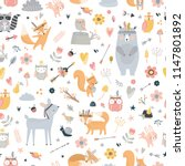 Stock vector seamless pattern with cute animals forest animals illustration bear deer fox rabbit bird 1147801892