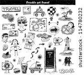 doodle set   travel. hand drawn ... | Shutterstock .eps vector #114780232