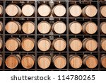 Wine Barrels Stacked In The...