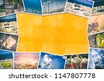 Travel photo collage on orange wall background - stock photo