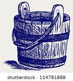 Wooden Bucket. Doodle Style
