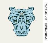 ornamental tattoo cougar head.... | Shutterstock . vector #1147841642