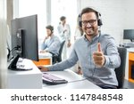 happy male customer service... | Shutterstock . vector #1147848548