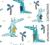 seamless pattern with creative... | Shutterstock .eps vector #1147863545