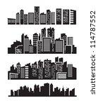 vector black city icons set on... | Shutterstock .eps vector #114787552