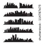 vector black city icons set on... | Shutterstock .eps vector #114787675