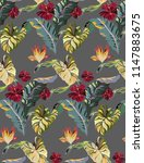 tropical exotic pattern with... | Shutterstock .eps vector #1147883675