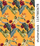 tropical exotic pattern with... | Shutterstock .eps vector #1147883678