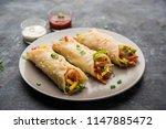 indian veg chapati wrap   kathi ... | Shutterstock . vector #1147885472
