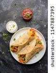 indian veg chapati wrap   kathi ... | Shutterstock . vector #1147887395