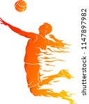 male volleyball hot flame | Shutterstock .eps vector #1147897982