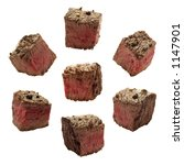 Meat Chunks Isolated On White
