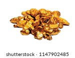 pure gold ore isolated on white ... | Shutterstock . vector #1147902485