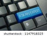 blue ask an expert keyboard... | Shutterstock . vector #1147918325