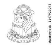 Unicorn Cake Coloring Book For...