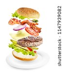 burger with flying ingredients... | Shutterstock . vector #1147939082