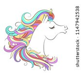 cute white unicorn with rainbow ... | Shutterstock .eps vector #1147942538