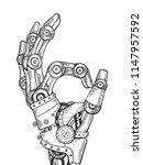 mechanical human robot hand... | Shutterstock .eps vector #1147957592