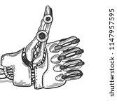 mechanical human robot hand...   Shutterstock .eps vector #1147957595