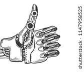 mechanical human robot hand...   Shutterstock . vector #1147958525