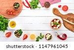 mozzarella cheese  cherry...   Shutterstock . vector #1147961045