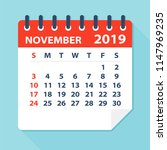 november 2019 calendar leaf  ... | Shutterstock .eps vector #1147969235