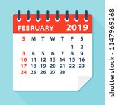 february 2019 calendar leaf  ... | Shutterstock .eps vector #1147969268