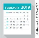 february 2019 calendar leaf  ... | Shutterstock .eps vector #1147969292