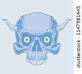 blue skull with horns.... | Shutterstock .eps vector #1147981445