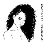 hand drawn black woman with... | Shutterstock .eps vector #1147983905