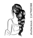 fashion art of a girl with long ... | Shutterstock .eps vector #1147985588