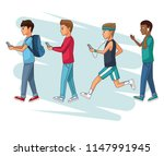 people and smartphone | Shutterstock .eps vector #1147991945