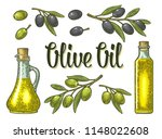 bottle glass oil with cork... | Shutterstock .eps vector #1148022608