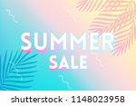 hot summer sale banner. trendy... | Shutterstock .eps vector #1148023958