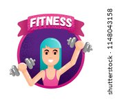 young woman working out lady... | Shutterstock .eps vector #1148043158