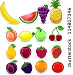 cartoon fruits and vegetables | Shutterstock .eps vector #114807346