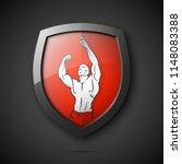 muscle man silhouette on shield ... | Shutterstock .eps vector #1148083388