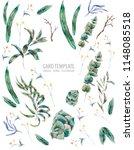 watercolor vertical frame of... | Shutterstock . vector #1148085518