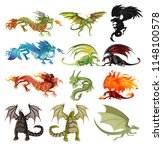 dragons characters collection | Shutterstock .eps vector #1148100578