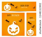 simple halloween pumpkin vector ... | Shutterstock .eps vector #1148112302
