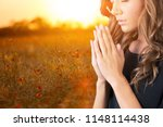 A Young Girl Prayed In Field