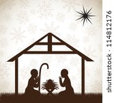 beautiful crib brown  christmas ... | Shutterstock .eps vector #114812176
