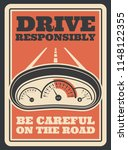 be careful on road retro poster ... | Shutterstock .eps vector #1148122355
