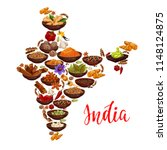 indian cuisine spices in india... | Shutterstock .eps vector #1148124875