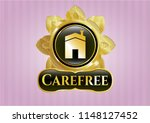gold badge or emblem with... | Shutterstock .eps vector #1148127452