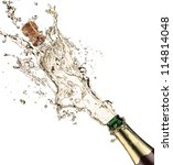 close up of champagne explosion | Shutterstock . vector #114814048