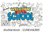doodle welcome back to school | Shutterstock .eps vector #1148146385
